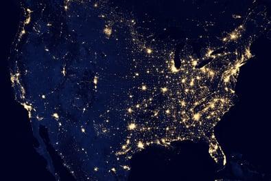 map lit up by light bulbs