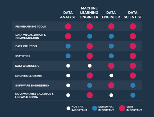 A chart showing the importance of skillsets in different data roles