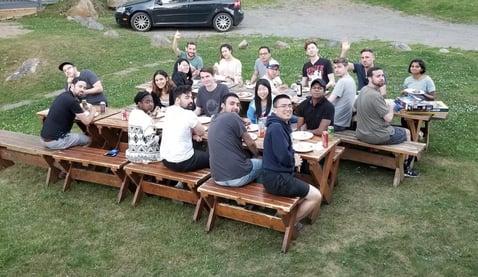team at a retreat