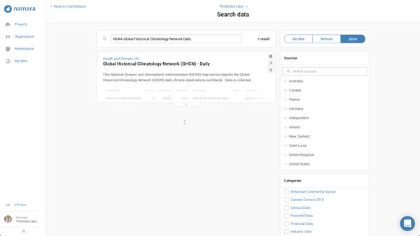 Namara dataset search results