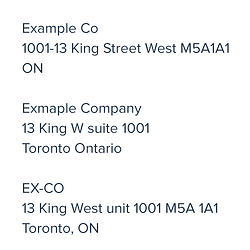 An example of one company and address recorded three different ways